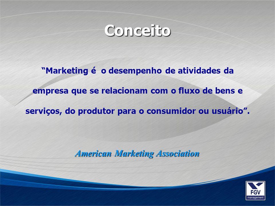 Marketing é o desempenho de atividades da empresa que se relacionam com o fluxo de bens e serviços, do produtor para o consumidor ou usuário. Conceito