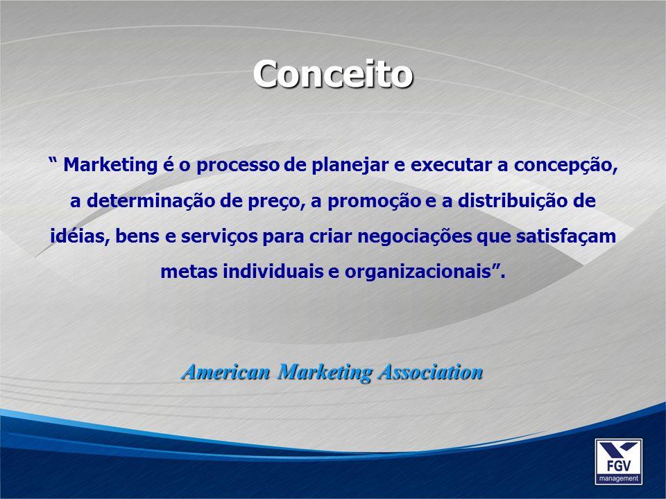 Marketing é o processo de planejar e executar a concepção, a determinação de preço, a promoção e a distribuição de idéias, bens e serviços para criar