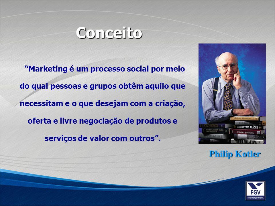 Marketing é um processo social por meio do qual pessoas e grupos obtêm aquilo que necessitam e o que desejam com a criação, oferta e livre negociação
