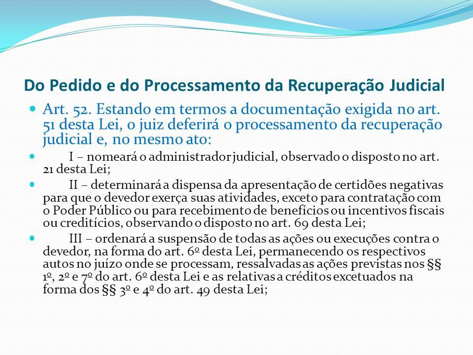 Do Pedido e do Processamento da Recuperação Judicial Art.