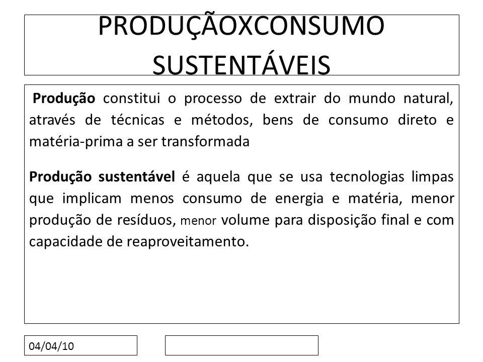 04/04/10 PRODUÇÃOXCONSUMO SUSTENTÁVEIS Produção constitui o processo de extrair do mundo natural, através de técnicas e métodos, bens de consumo diret