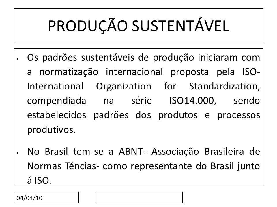 04/04/10 PRODUÇÃO SUSTENTÁVEL Os padrões sustentáveis de produção iniciaram com a normatização internacional proposta pela ISO- International Organiza