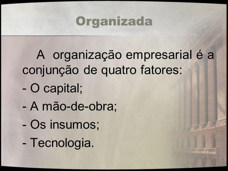 Organizada A organização empresarial é a conjunção de quatro fatores: - O capital; - A mão-de-obra; - Os insumos; - Tecnologia.