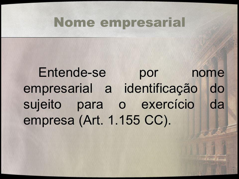 Nome empresarial Entende-se por nome empresarial a identificação do sujeito para o exercício da empresa (Art. 1.155 CC).