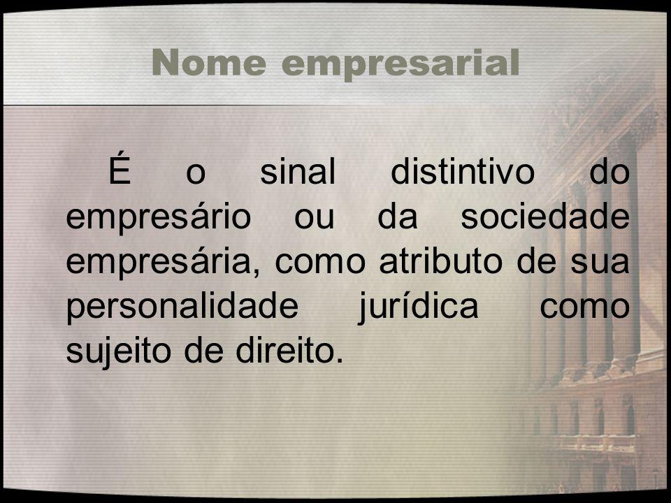 Nome empresarial É o sinal distintivo do empresário ou da sociedade empresária, como atributo de sua personalidade jurídica como sujeito de direito.