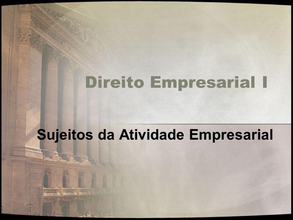 Direito Empresarial I UNIDADE II – SUJEITOS DA ATIVIDADE EMPRESARIAL.