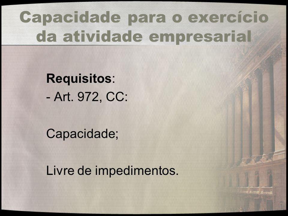 Capacidade para o exercício da atividade empresarial Requisitos: - Art. 972, CC: Capacidade; Livre de impedimentos.
