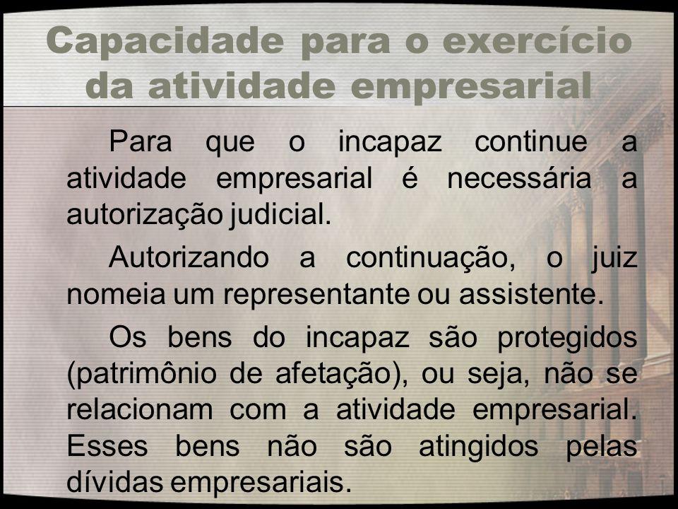 Capacidade para o exercício da atividade empresarial Para que o incapaz continue a atividade empresarial é necessária a autorização judicial. Autoriza