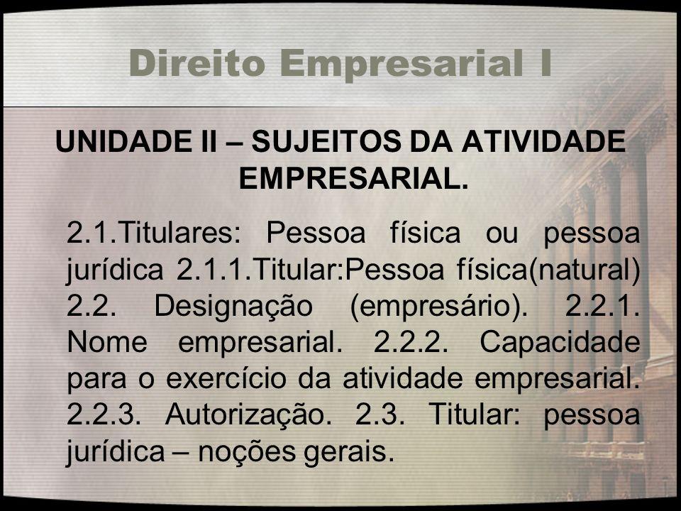 Direito Empresarial I UNIDADE II – SUJEITOS DA ATIVIDADE EMPRESARIAL. 2.1.Titulares: Pessoa física ou pessoa jurídica 2.1.1.Titular:Pessoa física(natu