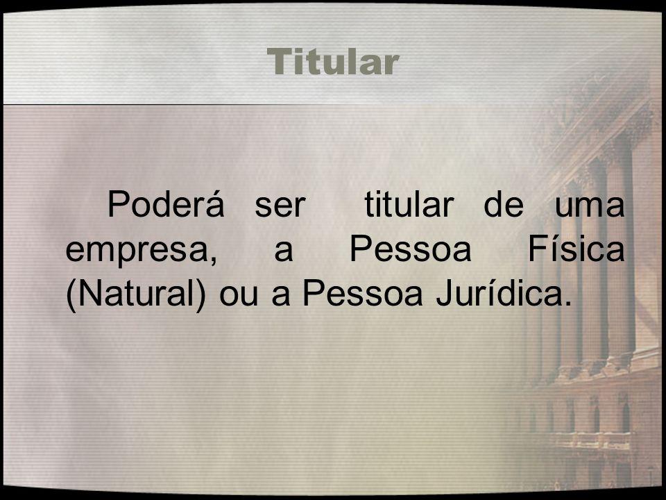 Titular Poderá ser titular de uma empresa, a Pessoa Física (Natural) ou a Pessoa Jurídica.