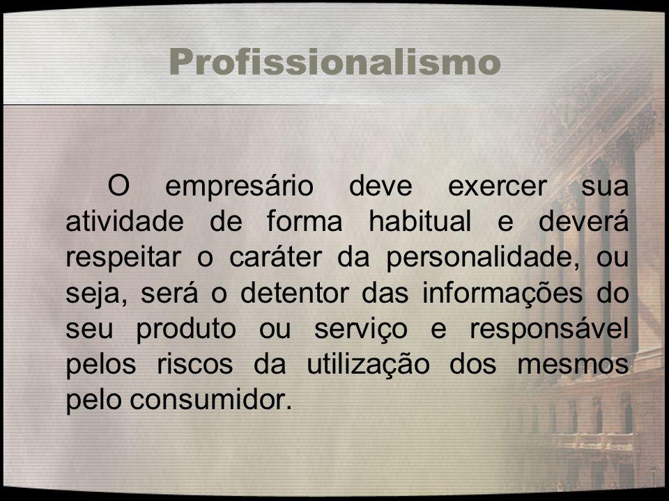 Profissionalismo O empresário deve exercer sua atividade de forma habitual e deverá respeitar o caráter da personalidade, ou seja, será o detentor das