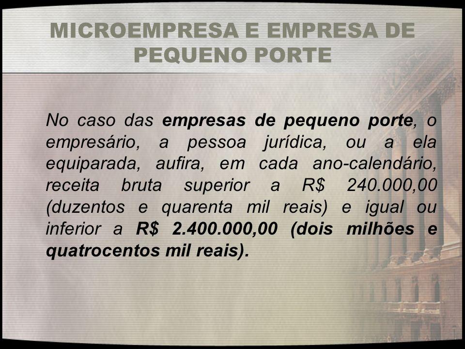 MICROEMPRESA E EMPRESA DE PEQUENO PORTE No caso das empresas de pequeno porte, o empresário, a pessoa jurídica, ou a ela equiparada, aufira, em cada a