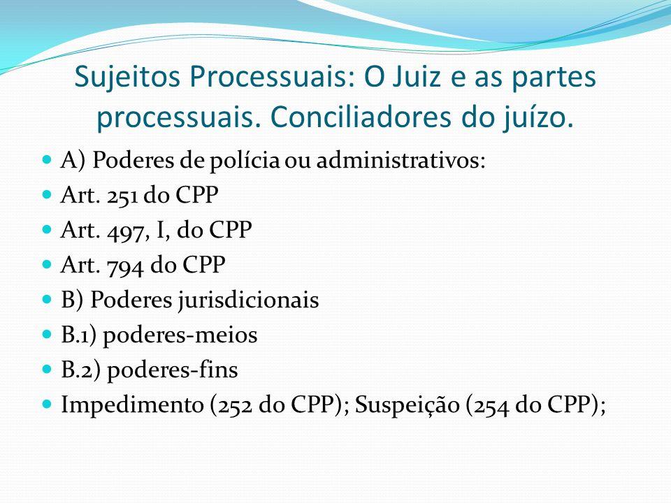 Sujeitos Processuais: O Juiz e as partes processuais. Conciliadores do juízo. A) Poderes de polícia ou administrativos: Art. 251 do CPP Art. 497, I, d