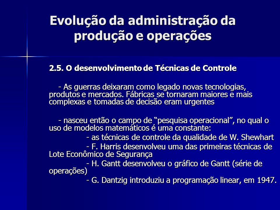 Evolução da administração da produção e operações 2.5. O desenvolvimento de Técnicas de Controle - As guerras deixaram como legado novas tecnologias,