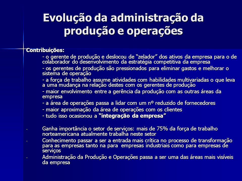 Evolução da administração da produção e operações Contribuições: - o gerente de produção e deslocou de zelador dos ativos da empresa para o de colabor