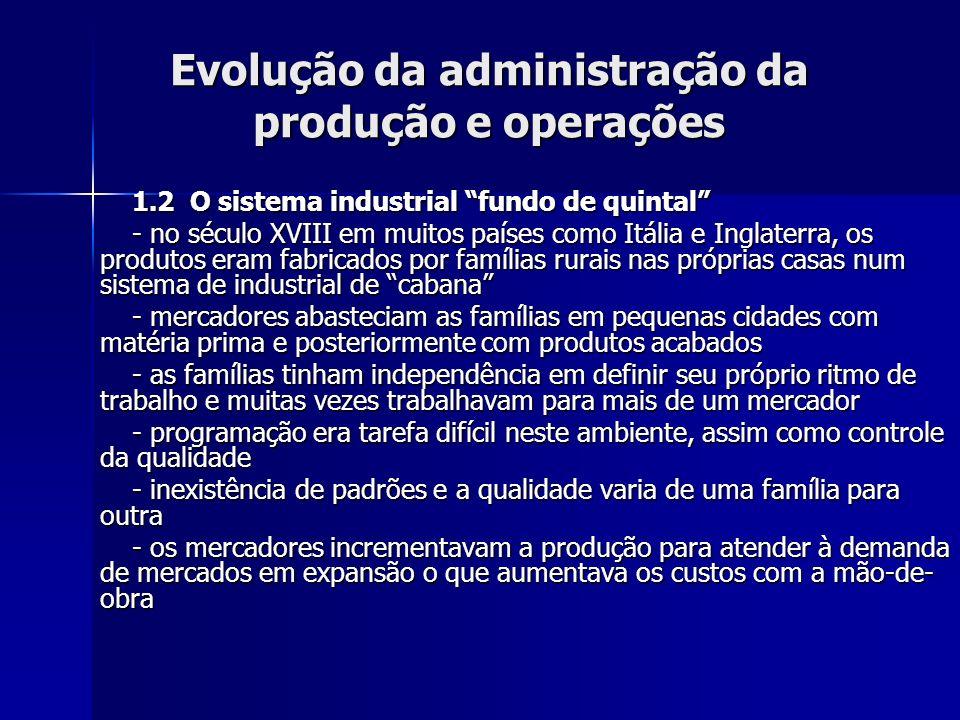 Evolução da administração da produção e operações 2.7.