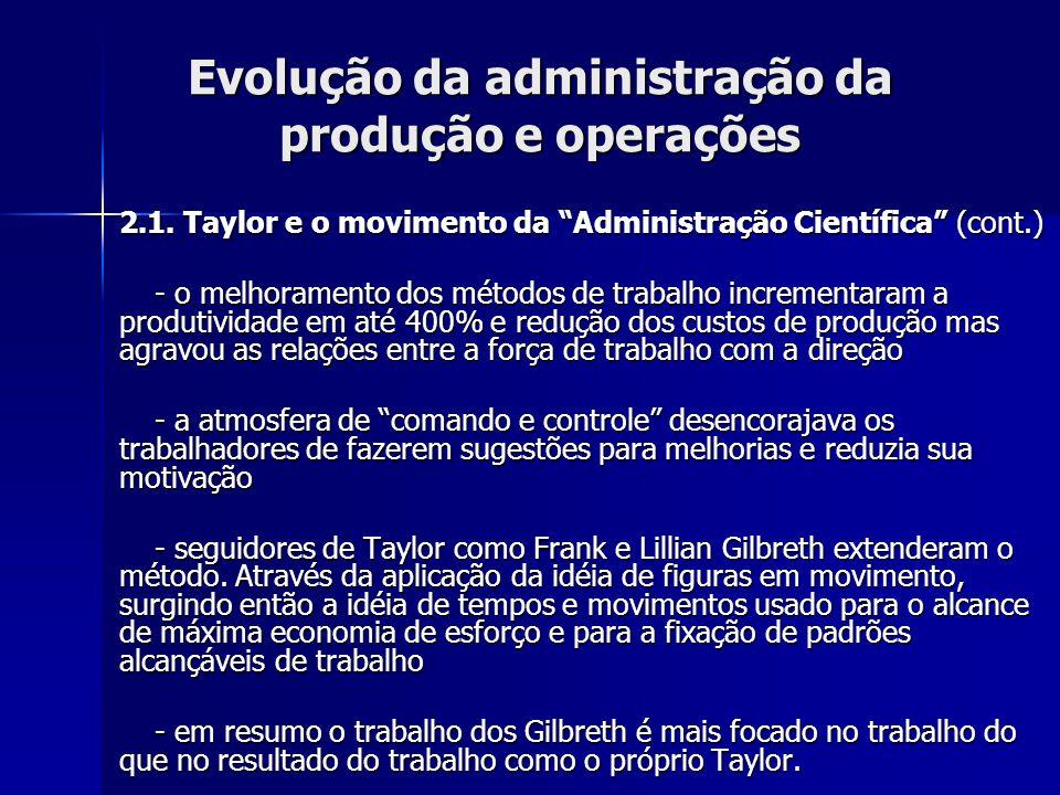 Evolução da administração da produção e operações 2.2.