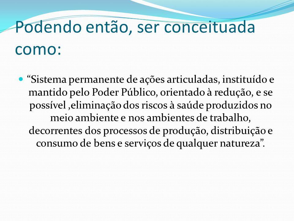 Definição segundo a Lei Orgânica da Saúde (Lei Federal n. 8.080 de 1990) Um conjunto de ações capaz de eliminar, diminuir ou prevenir riscos à saúde e