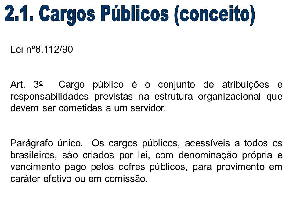 Lei nº8.112/90 Art. 3 o Cargo público é o conjunto de atribuições e responsabilidades previstas na estrutura organizacional que devem ser cometidas a
