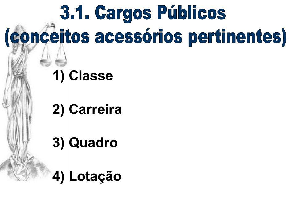 1) Classe 2) Carreira 3) Quadro 4) Lotação
