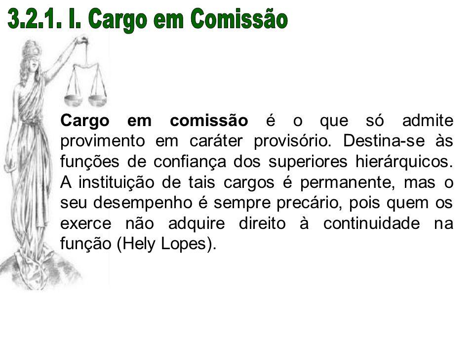 Cargo em comissão é o que só admite provimento em caráter provisório. Destina-se às funções de confiança dos superiores hierárquicos. A instituição de