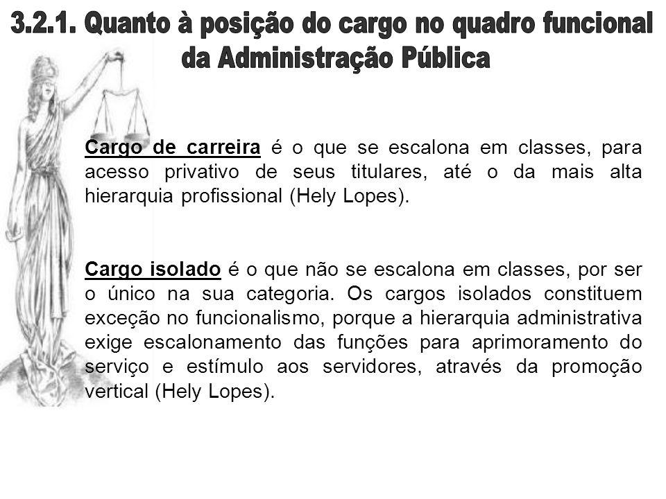 Cargo de carreira é o que se escalona em classes, para acesso privativo de seus titulares, até o da mais alta hierarquia profissional (Hely Lopes). Ca
