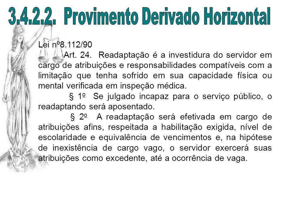 Lei nº8.112/90 Art. 24. Readaptação é a investidura do servidor em cargo de atribuições e responsabilidades compatíveis com a limitação que tenha sofr