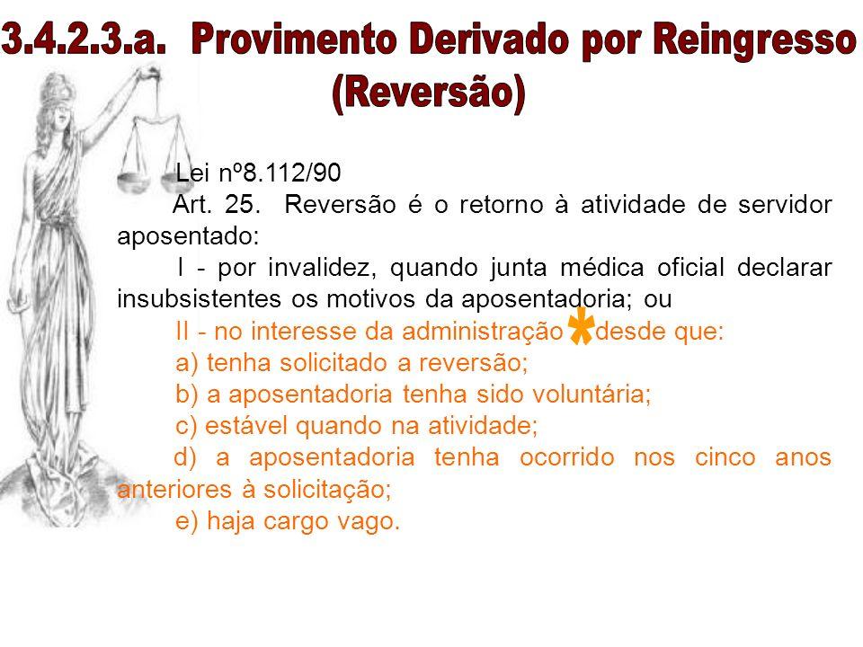 Lei nº8.112/90 Art. 25. Reversão é o retorno à atividade de servidor aposentado: I - por invalidez, quando junta médica oficial declarar insubsistente