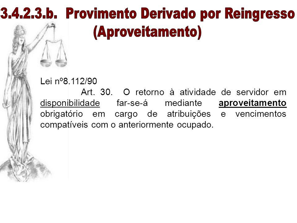 Lei nº8.112/90 Art. 30. O retorno à atividade de servidor em disponibilidade far-se-á mediante aproveitamento obrigatório em cargo de atribuições e ve
