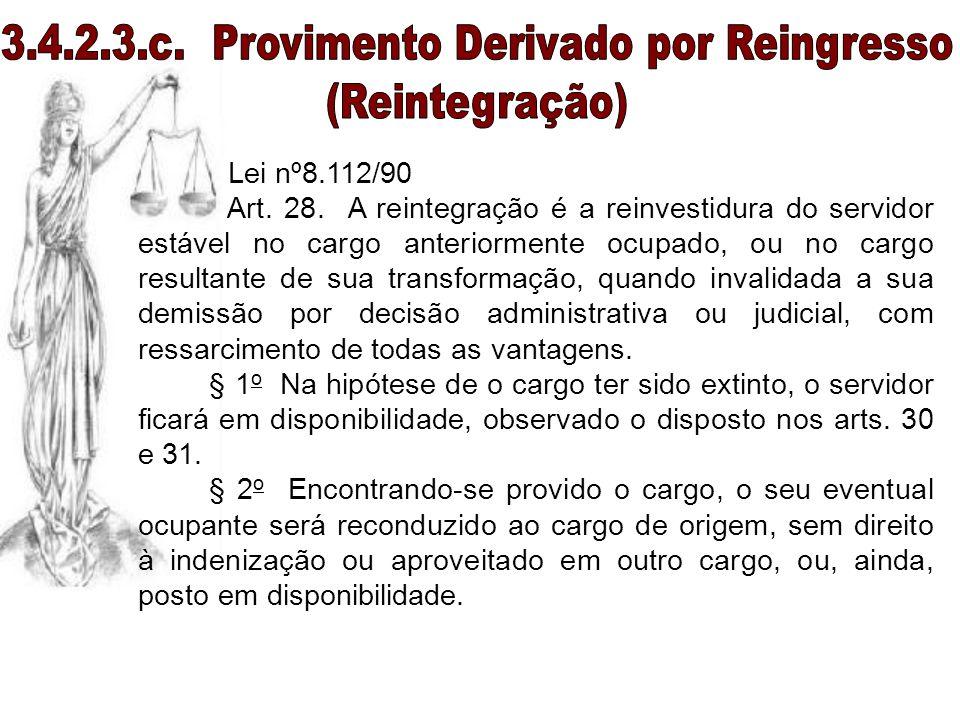 Lei nº8.112/90 Art. 28. A reintegração é a reinvestidura do servidor estável no cargo anteriormente ocupado, ou no cargo resultante de sua transformaç