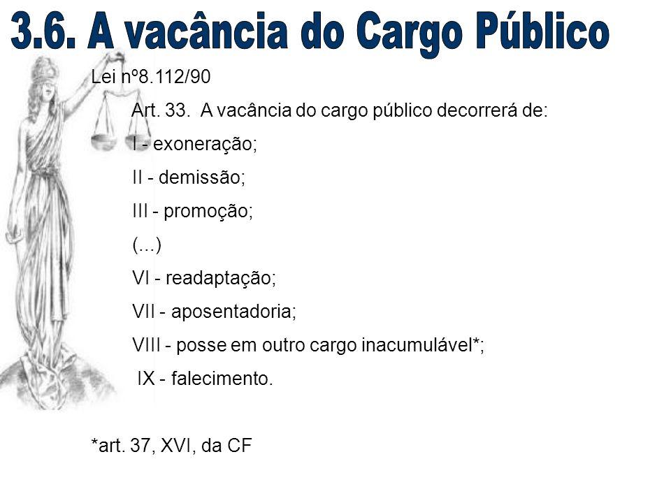 Lei nº8.112/90 Art. 33. A vacância do cargo público decorrerá de: I - exoneração; II - demissão; III - promoção; (...) VI - readaptação; VII - aposent