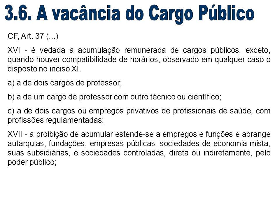 CF, Art. 37 (...) XVI - é vedada a acumulação remunerada de cargos públicos, exceto, quando houver compatibilidade de horários, observado em qualquer