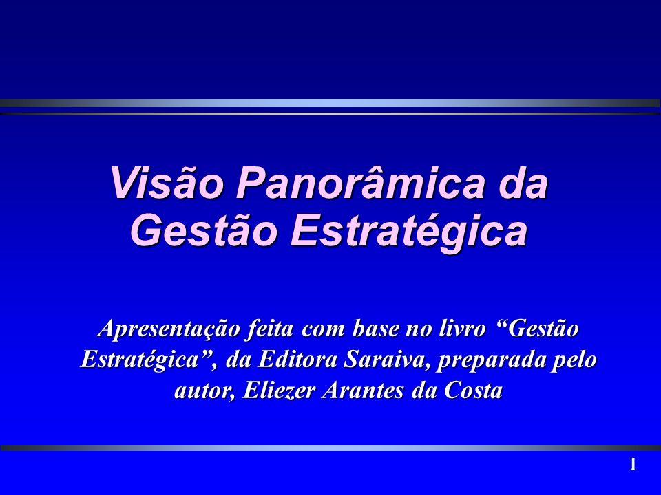 1 Visão Panorâmica da Gestão Estratégica Apresentação feita com base no livro Gestão Estratégica, da Editora Saraiva, preparada pelo autor, Eliezer Ar