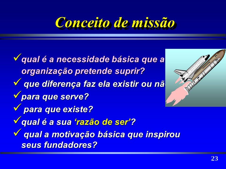 23 Conceito de missão qual é a necessidade básica que a organização pretende suprir? qual é a necessidade básica que a organização pretende suprir? qu