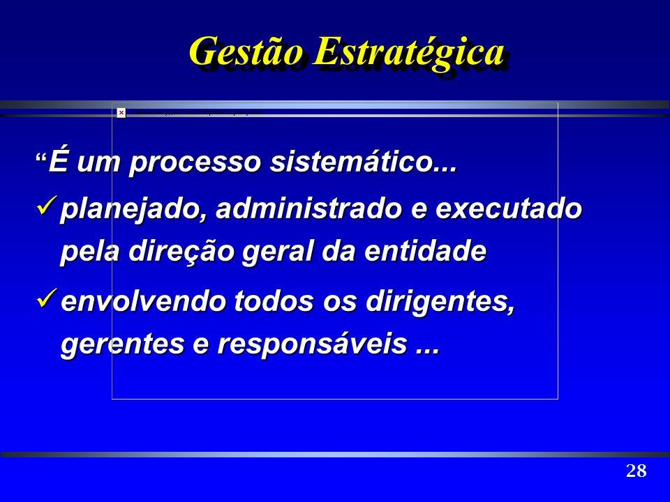 28 Gestão Estratégica É um processo sistemático... É um processo sistemático... planejado, administrado e executado pela direção geral da entidade pla