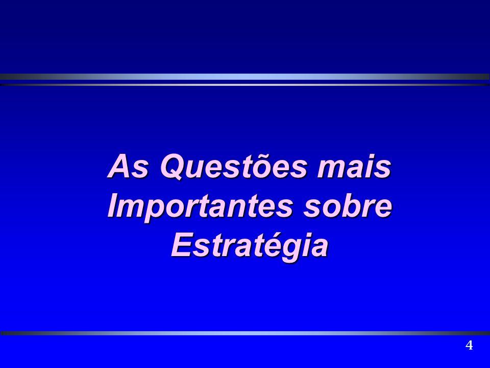 5 As questões mais importantes sobre estratégia 1.Por que o nosso envolvimento com a estratégia é cada vez mais relevante.