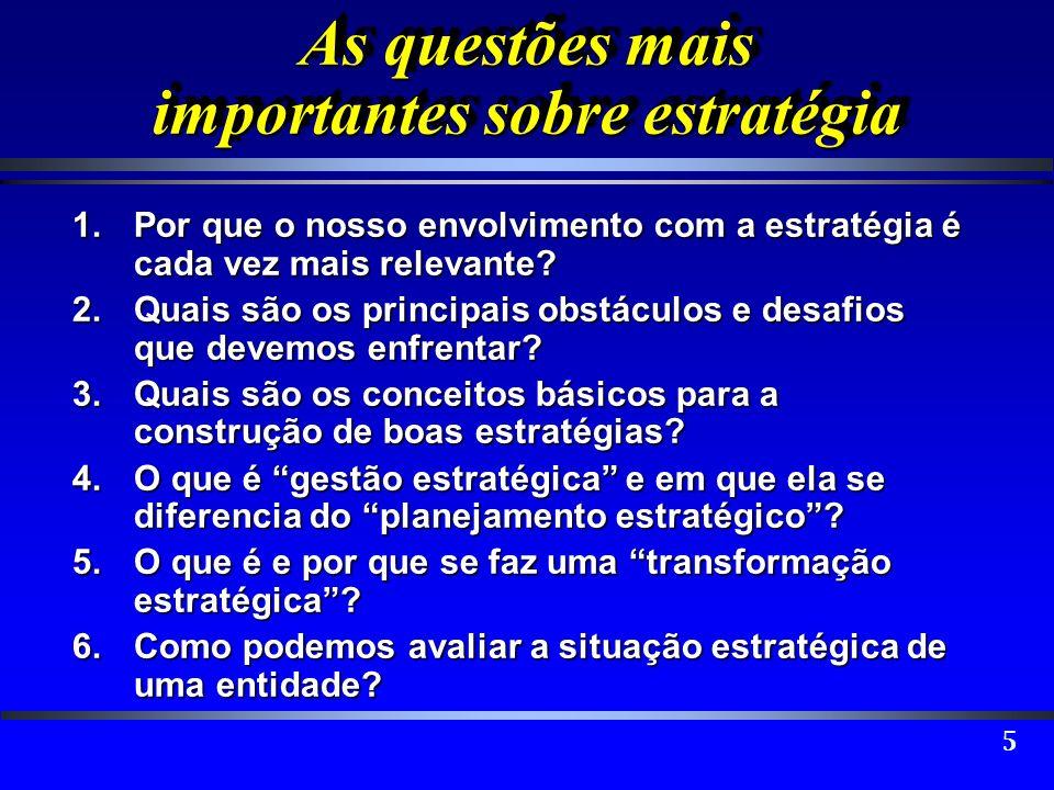 6 As questões mais importantes sobre estratégia 7.