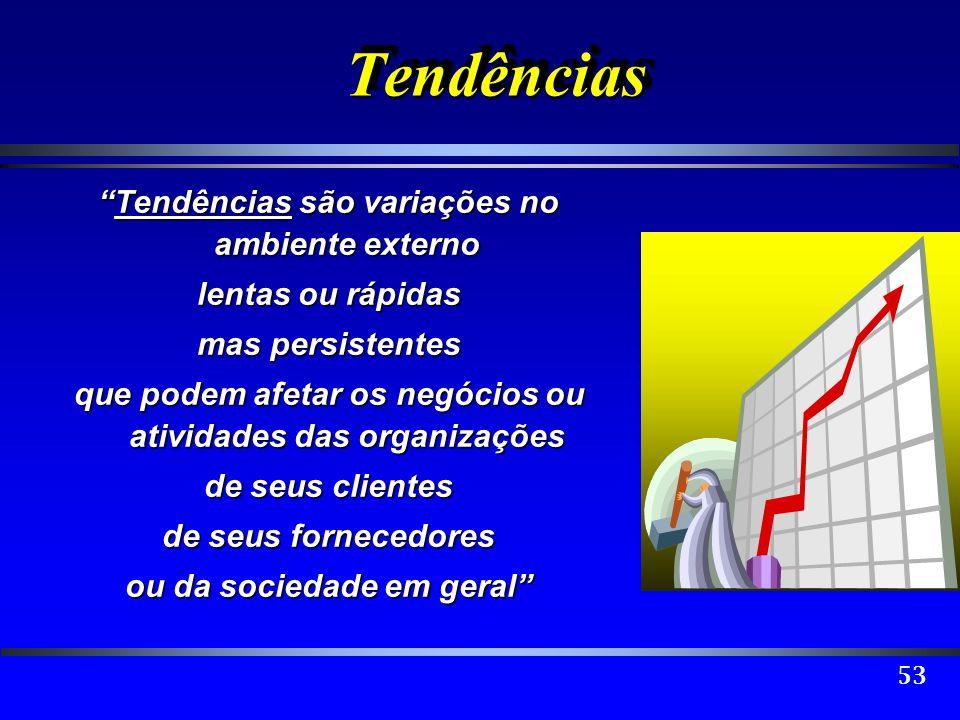 53 TendênciasTendências Tendências são variações no ambiente externoTendências são variações no ambiente externo lentas ou rápidas mas persistentes qu