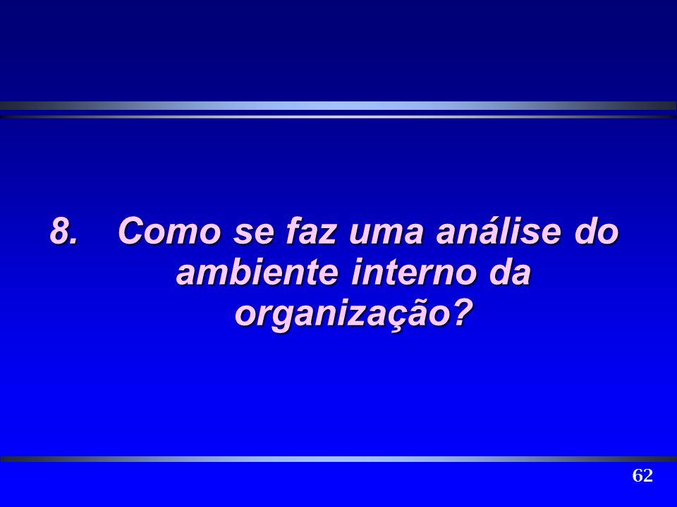 62 8.Como se faz uma análise do ambiente interno da organização?