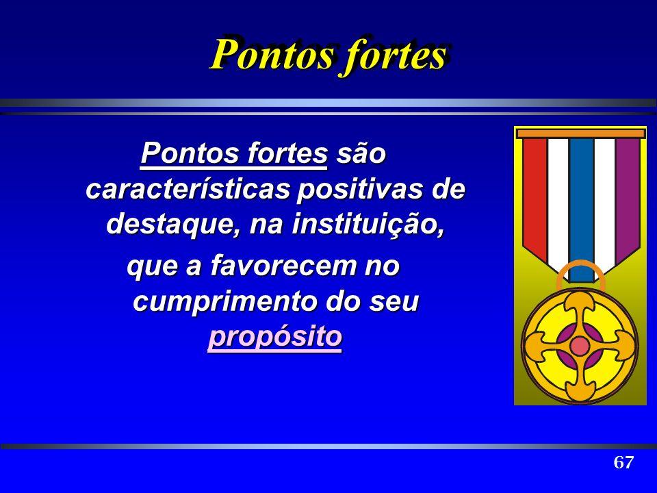 67 Pontos fortes Pontos fortes são características positivas de destaque, na instituição, que a favorecem no cumprimento do seu propósito