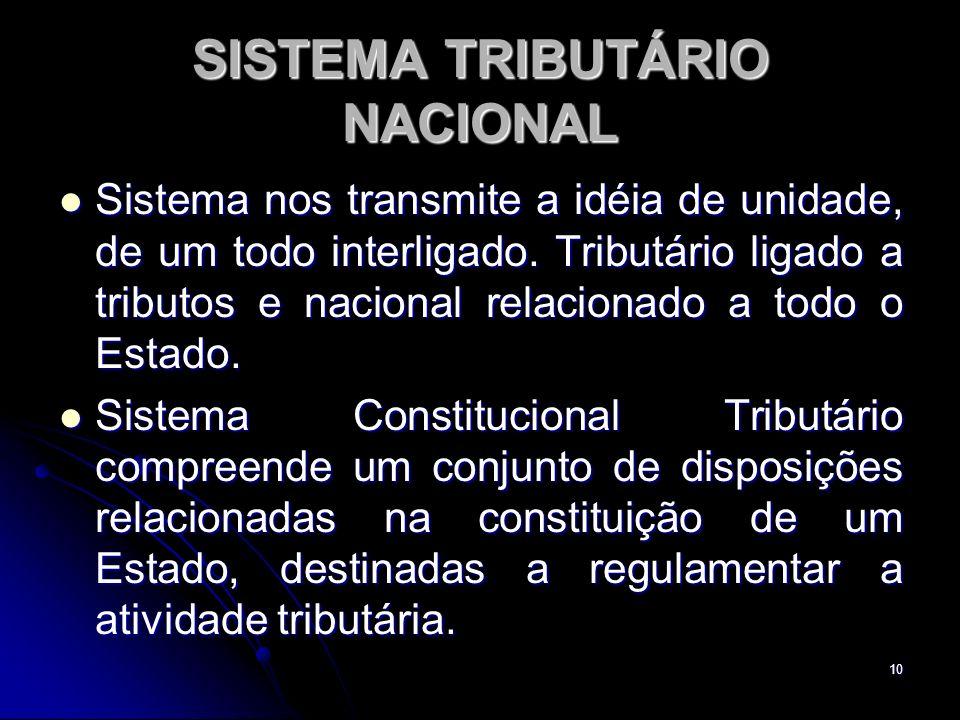 10 SISTEMA TRIBUTÁRIO NACIONAL Sistema nos transmite a idéia de unidade, de um todo interligado. Tributário ligado a tributos e nacional relacionado a