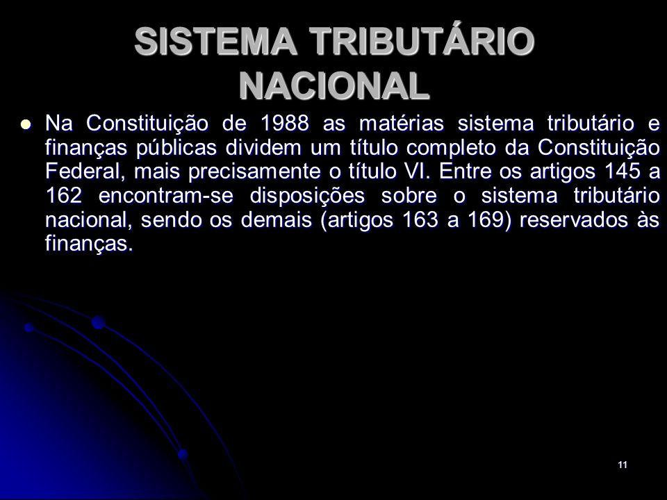 11 SISTEMA TRIBUTÁRIO NACIONAL Na Constituição de 1988 as matérias sistema tributário e finanças públicas dividem um título completo da Constituição F