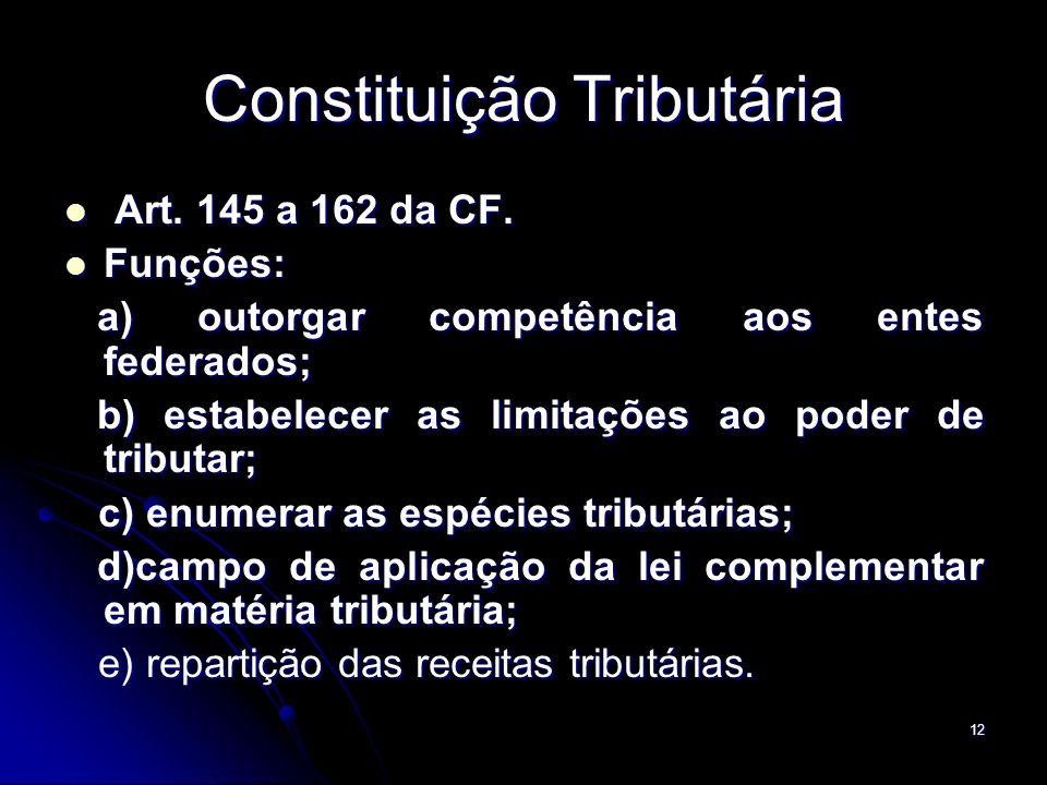 12 Constituição Tributária Art. 145 a 162 da CF. Art. 145 a 162 da CF. Funções: Funções: a) outorgar competência aos entes federados; a) outorgar comp