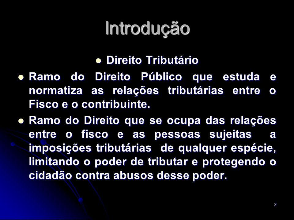 2 Introdução Direito Tributário Direito Tributário Ramo do Direito Público que estuda e normatiza as relações tributárias entre o Fisco e o contribuin