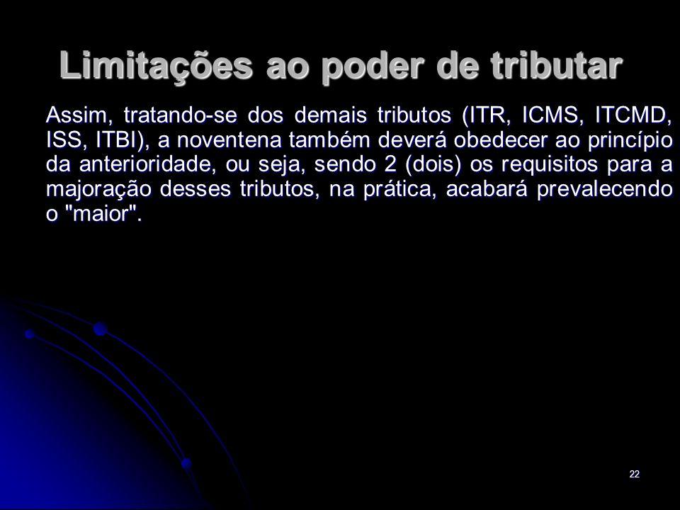 22 Limitações ao poder de tributar Assim, tratando-se dos demais tributos (ITR, ICMS, ITCMD, ISS, ITBI), a noventena também deverá obedecer ao princíp