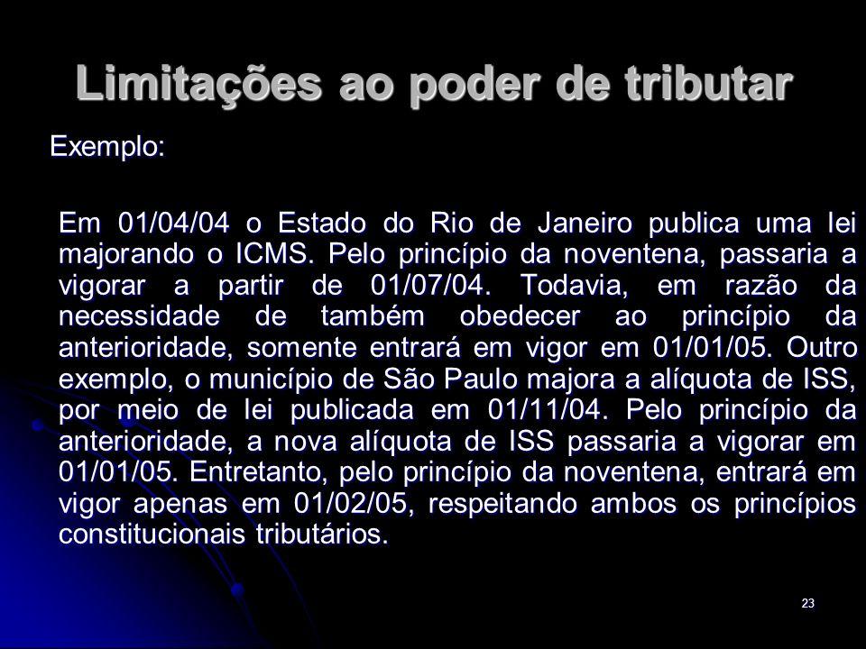 23 Limitações ao poder de tributar Exemplo: Exemplo: Em 01/04/04 o Estado do Rio de Janeiro publica uma lei majorando o ICMS. Pelo princípio da novent