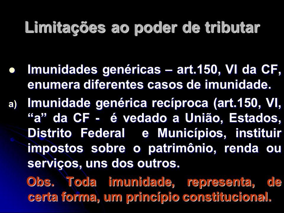 35 Limitações ao poder de tributar Imunidades genéricas – art.150, VI da CF, enumera diferentes casos de imunidade. Imunidades genéricas – art.150, VI