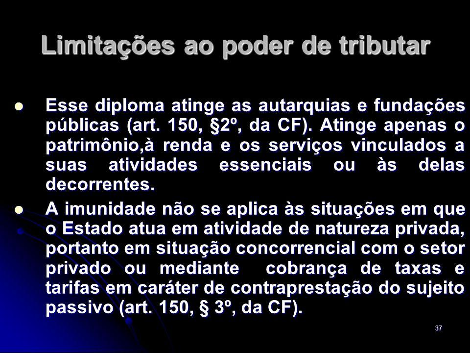 37 Limitações ao poder de tributar Esse diploma atinge as autarquias e fundações públicas (art. 150, §2º, da CF). Atinge apenas o patrimônio,à renda e