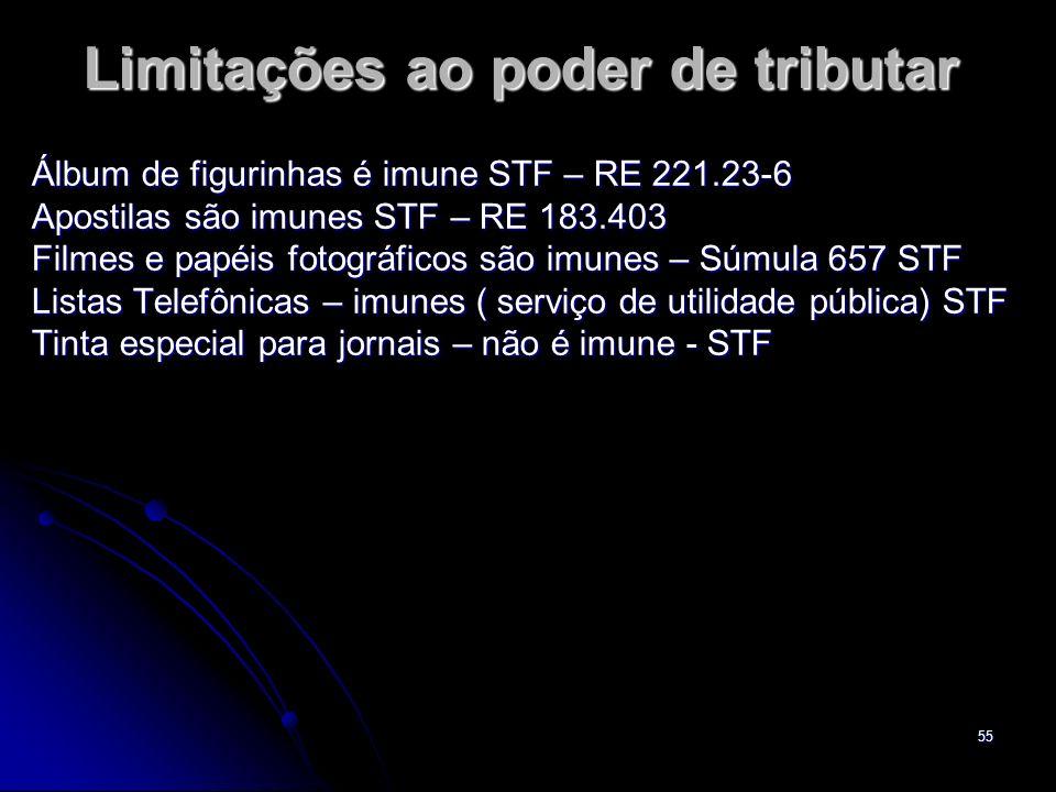 55 Limitações ao poder de tributar Álbum de figurinhas é imune STF – RE 221.23-6 Apostilas são imunes STF – RE 183.403 Filmes e papéis fotográficos sã