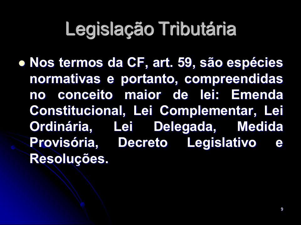 9 Legislação Tributária Nos termos da CF, art. 59, são espécies normativas e portanto, compreendidas no conceito maior de lei: Emenda Constitucional,